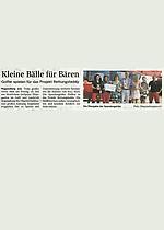 Pressetext: Kleine Bälle für Bären / MZ Rundschau 09/2013 Spende für Sternschnuppe e.V.